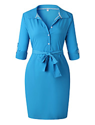 お買い得  -膝襟の上に女性のシースのドレス