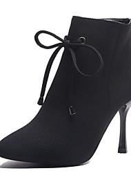 billige -Dame Fashion Boots PU Efterår vinter Afslappet Støvler Stilethæle Spidstå Ankelstøvler Sort / Lilla