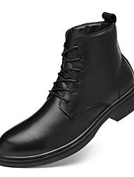 billiga -Herr Fashion Boots Nappaskinn Vinter Klassisk / Ledigt Stövlar Håller värmen Korta stövlar / ankelstövlar Svart