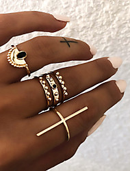 Women's Retro Knuckle Ring Ring Set Multi Finger Ring Resin Alloy Cross Ladies Vintage Punk Boho Ring Jewelry Gold / Silver For Gift Daily Street Club Bar 9 ...