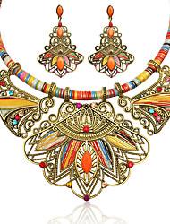 Недорогие -Жен. Многоцветный Синтетический алмаз геометрический Комплект ювелирных изделий - Резина, Стразы Цветы Дамы, Роскошь, Богемные, Этнический Включают Серьги-слезки Заявление ожерелья Цвет радуги