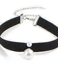 abordables -Femme Classique Collier court / Ras-du-cou - Imitation de perle simple Noir 30+8 cm Colliers Tendance Bijoux 1pc Pour Quotidien, Festival