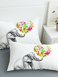 abordables -Taie d'oreiller - Polyester Imprimé 3D Print 2 x Taie d'oreiller