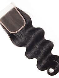 Недорогие -Бразильские волосы / Бирманские волосы 4x4 Закрытие Волнистый Бесплатный Часть / Средняя часть / 3 Часть Средняя часть Корейское кружево Натуральные волосы Жен.