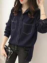 Недорогие -женский выход / рабочая тонкая рубашка - сплошной цветной воротник рубашки