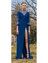 billige -Tube / kolonne Højhalset Gulvlang Chiffon Kjole med Perlearbejde / Opdelt front ved TS Couture®