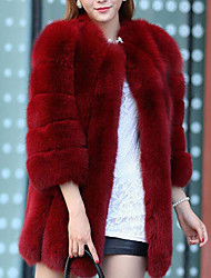 cheap -Women's Work / Party / Cocktail Street chic / Sophisticated Winter Plus Size Long Fur Coat, Solid Colored / Striped Round Neck Long Sleeve Faux Fur / Spandex Patchwork Fuchsia / Wine / Lavender XXL