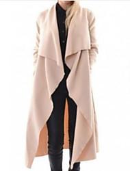 abordables -Femme Sports Longue Trench, Couleur Pleine Col en V Manches Longues Coton / Polyester Noir / Beige L / XL / XXL
