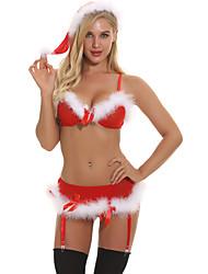 Недорогие -Жен. Супер секси Костюм Ночное белье - Открытая спина, Рождество Геометрический принт