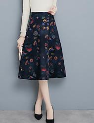 Недорогие -женский выход плюс размер midi карандаш юбки - цветной блок / цветочный