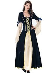 Недорогие -ведьма Queen Платья Косплэй Kостюмы Маскарад Жен. Взрослые Платья Хэллоуин Хэллоуин Маскарад Фестиваль / праздник Инвентарь Темно-синий Однотонный Простой