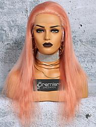 Недорогие -Не подвергавшиеся окрашиванию Полностью ленточные Парик Глубокое разделение С конским хвостом Kardashian стиль Бразильские волосы Шелковисто-прямые Розовый Парик 150% Плотность волос 12-24 дюймовый