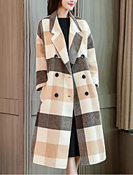 baratos -casaco longo de pele de coelho feminino - xadrez / xadrez