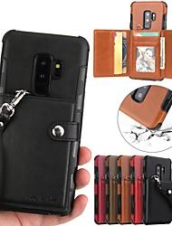 Недорогие -Кейс для Назначение SSamsung Galaxy S9 / S9 Plus / S8 Plus Кошелек / Бумажник для карт Кейс на заднюю панель Однотонный Твердый Кожа PU
