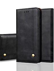 Недорогие -Кейс для Назначение Apple iPhone XS / iPhone XR / iPhone XS Max Кошелек / Бумажник для карт / Флип Чехол Однотонный Твердый Кожа PU