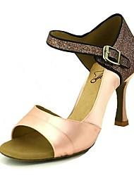 baratos -Mulheres Sapatos de Dança Latina Cetim Salto Gliter com Brilho Salto Carretel Sapatos de Dança Rosa claro / Amêndoa / Nú / Espetáculo / Couro / Ensaio / Prática