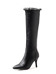 Недорогие -Жен. Fashion Boots Полиуретан Наступила зима Ботинки На шпильке Заостренный носок Сапоги до колена Кружева Белый / Черный / Зеленый