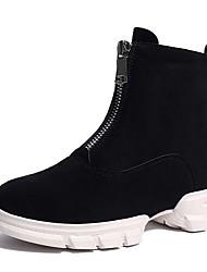 Недорогие -Жен. Fashion Boots Замша Зима Ботинки На плоской подошве Круглый носок Ботинки Черный