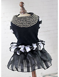 abordables -Chiens / Chats Robe Vêtements pour Chien Voiles & Transparence / Couleur Pleine Noir / Blanc Térylène Costume Pour les animaux domestiques Femme Ordinaire / Mode
