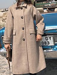 Недорогие -длинное шерстяное пальто женщин - сплошной цвет
