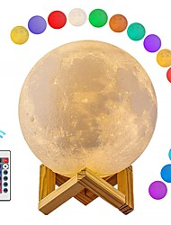 billiga -1st MOON LED Night Light / 3D nattlampa / Nursery Night Light RGB + Vit USB För Barn / Uppladdningsbar / Bimbar <5 V