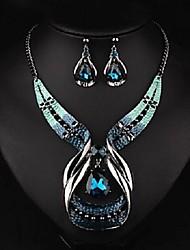 Недорогие -Жен. Синий Кристалл Аппликация Комплект ювелирных изделий Свисающие Этнический, Мода Включают Серьги-слезки Цепочка Синий Назначение Для вечеринок Праздники