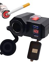 Недорогие -5 В 4.2a автомобильное зарядное устройство мотоцикла зарядное устройство с двумя портами USB прикуриватель светодиодный цифровой дисплей вольтметр с проводами для мотоцикла
