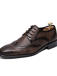 billige -Herre Komfort Sko PU Vinter Oxfords Sort / Brun