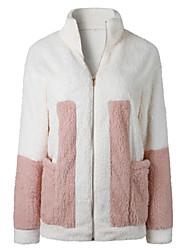 Χαμηλού Κόστους Black friday-βαμβακερό παλτό γυναικών - μπλοκ χρώμα