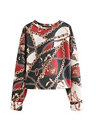 baratos -t-shirt feminina - bloco de cor / floral em volta do pescoço