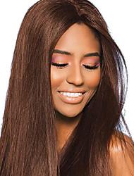 billige -Jomfruhår Remy Menneskehår Blonde Front Paryk Brasiliansk hår Naturlig lige Brun Paryk 130% Hår Densitet med baby hår Silkeagtig Bedste kvalitet Farvning Med bløde knuder Brun Dame Lang