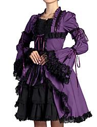 billiga -Victoriansk Söt Lolita Casual Lolita Klänning Artistisk / Retro Gothic Style Veckad Spets Dam Klänningar Cosplay Purpur Flamma Ärm Långärmad Knälång Kostymer