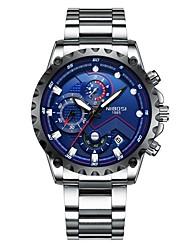 Недорогие -Муж. Нарядные часы Карманные часы Японский Японский кварц 30 m Защита от влаги Календарь Фосфоресцирующий Нержавеющая сталь Группа Аналоговый Мода Серебристый металл -