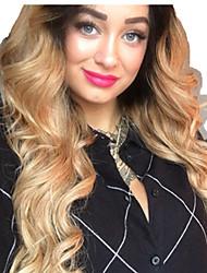 Недорогие -человеческие волосы Remy Полностью ленточные Лента спереди Парик Ассиметричная стрижка Beyonce стиль Бразильские волосы Естественные кудри Естественные волны Золотистый Парик 130% 150% 180