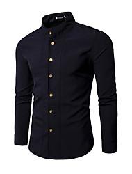 Недорогие -мужская рубашка - сплошной цветной стоячий воротник