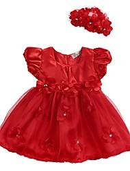baratos -bebê Para Meninas Básico Diário Floral Camadas / Com Transparência / Guarnição do laço Sem Manga Padrão Padrão Acima do Joelho Algodão / Acrílico Vestido Vermelho 100 / Bébé