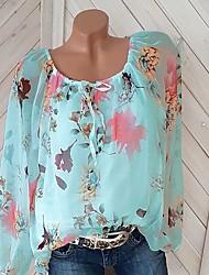 Недорогие -Жен. С принтом Блуза Цветочный принт