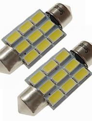 Недорогие -SENCART 2pcs 36mm Автомобиль Лампы 4.5 W SMD 5730 270 lm 9 Светодиодная лампа Внутреннее освещение / Внешние осветительные приборы Назначение