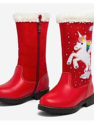 Недорогие -Девочки Обувь Кожа Зима Модная обувь Ботинки Молнии для Дети Черный / Красный