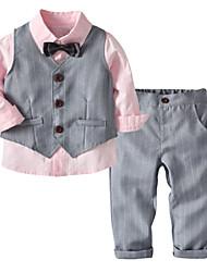 Недорогие -Дети (1-4 лет) Мальчики Классический Однотонный Длинный рукав Хлопок / Полиэстер Набор одежды Розовый