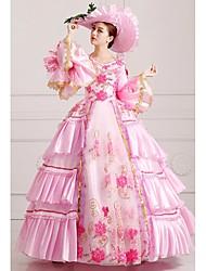 billige -Victoriansk Middelalderkostumer Kostume Dame Kjoler Festkostume Maskerade Vintage Cosplay Blonde Silke Organza Langærmet Lang Længde Balkjole / Satin