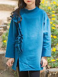 tanie -Dzieci Dla dziewczynek Aktywny Solidne kolory Długi rękaw Długie Poliester Bluzy Zielony