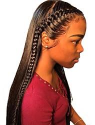 Недорогие -человеческие волосы Remy Необработанные натуральные волосы 6x13 Тип замка Фронтальная часть Лента спереди Парик Глубокое разделение Боковая часть стиль Бразильские волосы Прямой Шелковисто-прямые