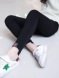 Недорогие -Дети Девочки Активный Повседневные Однотонный Многослойность / Пэчворк Полиэстер Джинсы Черный 140