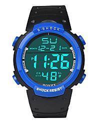 Недорогие -Муж. Спортивные часы электронные часы Японский Цифровой силиконовый Черный 30 m Защита от влаги Будильник Календарь Цифровой Мода - Черный Черный / Синий / Секундомер / Хронометр / Фосфоресцирующий
