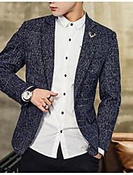 저렴한 -남성용 데이트 사업 보통 블레이져, 솔리드 셔츠 카라 긴 소매 폴리에스테르 푸른 / 블랙 / 그레이 XXL / XXXL / XXXXL