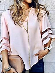 Недорогие -Жен. Блуза V-образный вырез Однотонный / Flare рукавом
