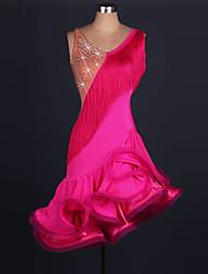 baratos -Dança Latina Vestidos Mulheres Treino / Espetáculo Elastano / Tule Mocassim / Cristal / Strass Sem Manga Alto Vestido