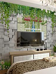baratos -papel de parede / Mural Tela de pintura Revestimento de paredes - adesivo necessário Art Deco / Árvores / Folhas / 3D