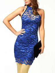 baratos -Mulheres Festa / Bandagem Moda de Rua Tubinho Vestido - Renda / Frente Única, Estampa Colorida Nadador Mini Azul / Sexy / Delgado